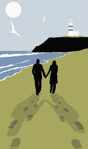 Footprints behind couple walking on sunny beach with lighthouse