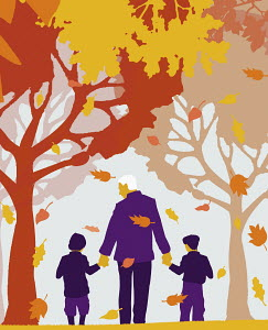 Grandfather and grandchildren walking under autumn trees and leaves