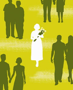 Single woman with bouquet standing among couples