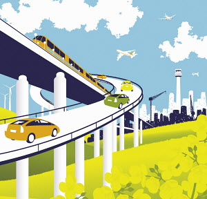 Elevated road and rail with train, cars, and airplanes