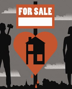 "Heart shaped house ""For Sale"" sign separating couple"