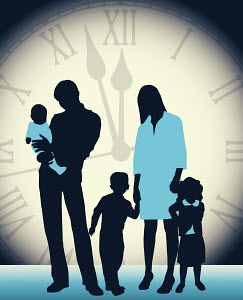 Large clock behind family