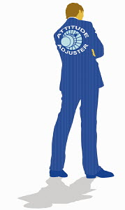 Businessman with �Attitude Adjuster� dial on back of suit