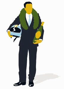 Businessman wearing victory laurel wreath and holding helmet and champagne bottle