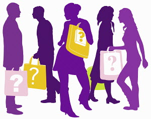 Men and women carrying shopping bags with question marks