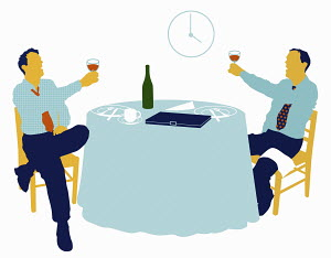 Businessmen drinking in restaurant in afternoon