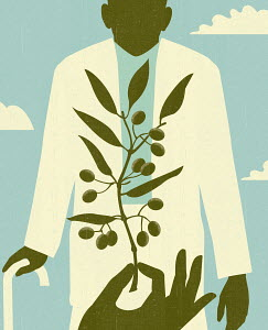 Hand holding olive branch before elderly man