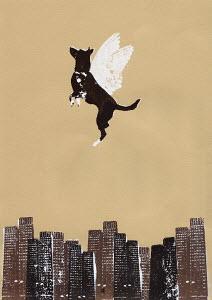 Winged dog flying above city