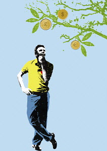 Man contemplating currency coins growing on fruit tree