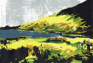 Brightly coloured illustration of cyclists carrying bikes at Hayeswater in the English Lake District