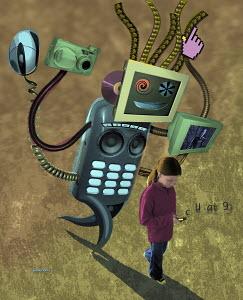 Technology monster chasing girl
