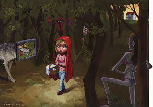 Scared girl walking in predator forest