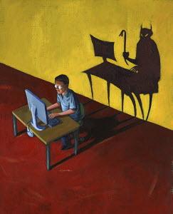 Devil lurking behind man on computer