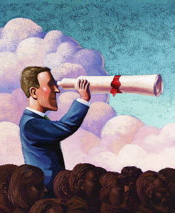 Businessman with diploma telescope standing above the crowd