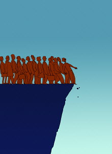 Business people at the edge of cliff