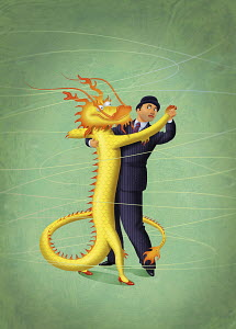 Cautious businessman and Chinese dragon dancing together