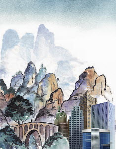 Contrasting modern city skyscraper development in tranquil traditional chinese landscape