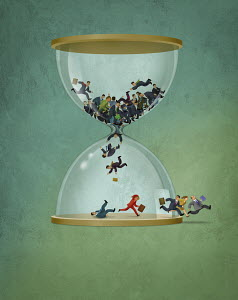 Business people falling in hourglass and running to escape