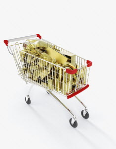 Shopping cart full of gold groceries