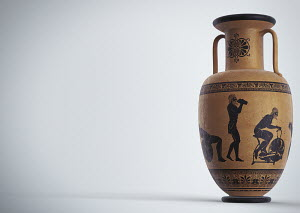 Images of man and modern exercise equipment on ancient Greek urn