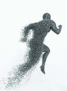 Running man breaking up into cubes and disintegrating