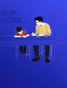 Mentor helping boy with homework