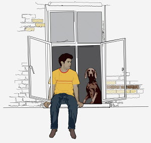 Young man and dog sitting in window