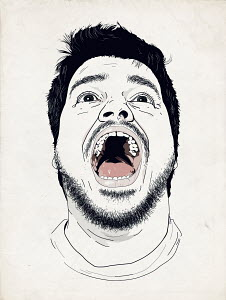 Close up of man with head back and mouth wide open screaming