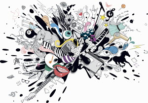 Splatter of young woman's music, entertainment and lifestyle interests