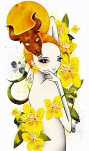Astrology woman with Taurus zodiac symbol