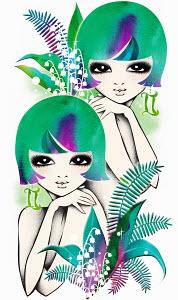Astrology twin women with Gemini zodiac symbol
