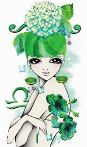 Astrology woman with Libra zodiac symbol