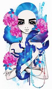 Astrology woman with Scorpio zodiac symbol