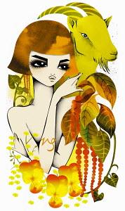 Astrology woman with Capricorn zodiac symbol
