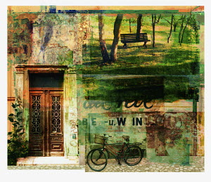 Bicycle and tranquil rustic scene