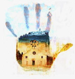 Church in handprint