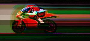 Motorcyclist racing on motorbike