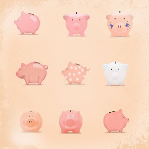 Decorated pink piggy banks