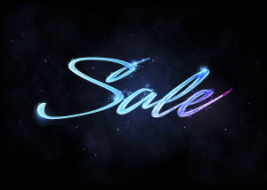 Glowing letters that spell 'sale' in night sky