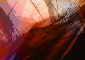 Abstract image of red and black lines and geometric shapes