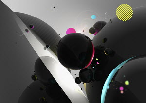Abstract image of colorful, planet-like circles