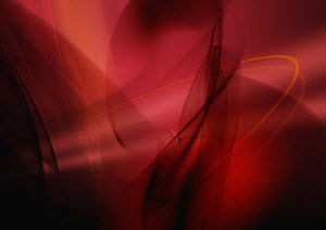 Abstract image of red swirling lines and clouds