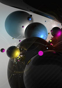 Abstract colorful planets orbiting together