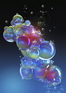 Cluster of floating soap bubbles