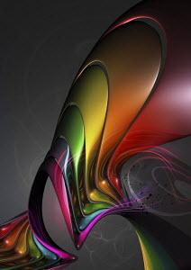Abstract colorful metallic swirls