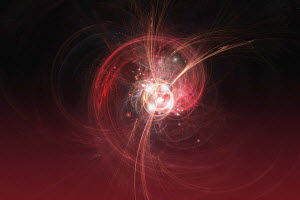 Abstract red electric swirling streaks