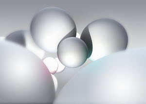 Abstract floating white spheres