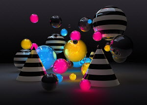 Abstract glowing colorful spheres and cones