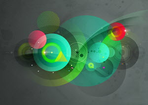 Abstract montage of green and red circles