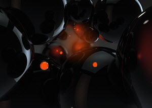 Abstract glowing black and orange spheres